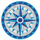 Small 10.5 Inch Round Pool Art - Compass (Set of Two Emblems)
