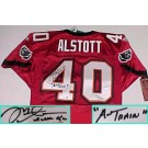 "Mike Alstott Autographed Tampa Bay Buccaneers Authentic NFL Reebok Red Jersey with ""A-Train"" Inscription"