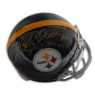 """Rocky Bleier Autographed Pittsburgh Steelers Pro Line Throwback Full Size Helmet with """"SB IX X XIII XIV"""" Inscription"""