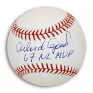 "Orlando Cepeda Autographed MLB Baseball Inscribed with ""67 NL MVP"""