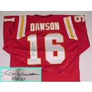 """Len Dawson Autographed Kansas City Chiefs Throwback Red Jersey with """"HOF 87"""" Inscription"""