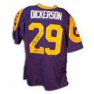 """Eric Dickerson Autographed Los Angeles Rams Throwback Blue Jersey with """"HOF 99"""" Inscription"""