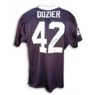 D.J. Dozier Autographed Custom Football Jersey (Navy Blue with White Collar)