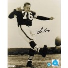 "Lou Groza Cleveland Browns Autographed 8"" x 10"" Black and White Kicking Photograph (Unframed)"