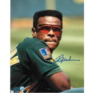 """Rickey Henderson Oakland Athletics Autographed """"In Green Jersey"""" 8"""" x 10"""" Unframed Photograph"""