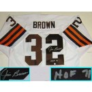 "Jim Brown, Cleveland Browns NFL Authentic Autographed White Throwback Jersey  with ""HOF 71"" Inscription"