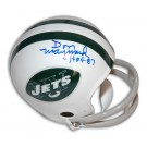 """Don Maynard Autographed New York Jets Throwback Two-Bar Mini Football Helmet Inscribed with """"HOF 87"""""""
