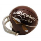 """Bobby Mitchell Washington Redskins Silver Autographed Throwback Arrow Mini Helmet Inscribed with """"HOF 83"""""""
