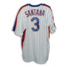 "Rafael Santana New York Mets Autographed White Pinstripe Majestic Jersey Inscribed with ""86 WS Champs"""