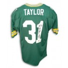 """Jim Taylor Green Bay Packers Autographed Throwback NFL Football Jersey Inscribed """"HOF 76"""" (Green)"""
