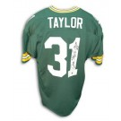 """Jim Taylor Green Bay Packers Autographed Throwback NFL Football Jersey Inscribed """"MVP 62"""" (Green)"""