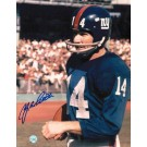 """Y.A. Tittle Autographed """"Blue Jersey with Ball"""" New York Giants 8"""" x 10"""" Photo"""