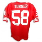 """Keena Turner San Francisco 49ers Autographed Custom Throwback NFL Football Jersey Inscribed with """"4X SB Champs"""" (Red)"""