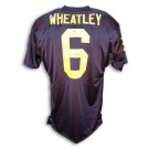 Tyrone Wheatley Autographed Custom Football Jersey (Navy Blue)