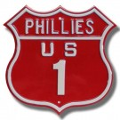 "Steel Route Sign:  ""PHILLIES US 1"""