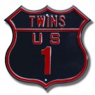 """Steel Route Sign:  """"TWINS US 1"""""""