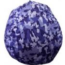 Royal Blue Faux Suede Urban Camo Bean Bag Chair