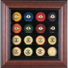 Deluxe 16 Ball Cabinet Style Pool Ball Display Case