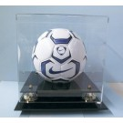 Soccer Ball Display Case with Gold Risers