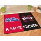 """Mississippi (Ole Miss) Rebels and Mississippi State Bulldogs 34"""" x 45"""" House Divided Mat"""