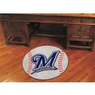 """27"""" Round Milwaukee Brewers Baseball Mat"""