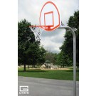"4 1/2"" O.D. Braced Rear Mount Gooseneck Post with 4' Extension, Basketball Backboard and Goal"