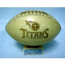 Tennessee Titans Alder 2/3 Size Football with Carved Laces and a Display Stand from Great Balls of Wood®