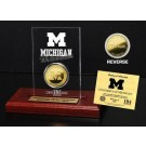 Michigan Wolverines 24KT Gold Coin in an Etched Acrylic Desktop Display from The Highland Mint
