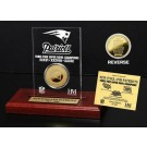 New England Patriots 3 Times Super Bowl Champions 24KT Gold Coin in a Etched Acrylic Desktop Display from The Highland Mint
