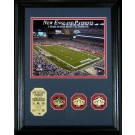 """New England Patriots 3 Time Super Bowl Champions 8"""" x 10"""" Framed Photograph and Medallion Set from The Highland Mint"""