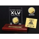 Green Bay Packers Super Bowl XLV Champions 24KT Gold Coin in an Etched Acrylic Desktop Display from The Highland Mint