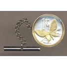 """Papua New Guinea 1 Toea """"Butterfly"""" Two Tone Gold on Silver World Coin Tie Tack"""