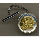 """Ethiopia 25 Cent """"Lion"""" Two Tone Gold on Silver World Coin Tie Tack"""