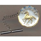 """Uruguay 10 Centesimal """"Horse"""" Two Tone Gold on Silver World Coin Tie Tack"""