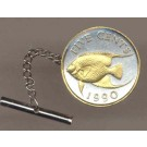 "Bermuda 5 Cent ""Angel Fish"" Two Tone Gold on Silver World Coin Tie Tack"