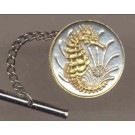 "Singapore 10 Cent ""Sea Horse"" Two Tone Gold on Silver World Coin Tie Tack"