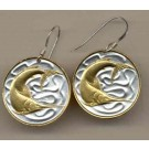 "Singapore 20 Cent ""Swordfish"" Two Tone Coin Earrings"