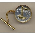 """Barbados 5 Cent """"Lighthouse"""" Two Tone Gold on Silver World Coin Tie Tack"""