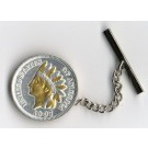 U.S. Indian Head Penny Two Tone Coin Tie Tack (Minted 1859 - 1909)
