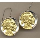 Indian Head Nickel Two Tone Coin Earrings