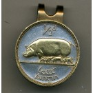 "Irish 1/2 Penny ""Pig and Piglets"" Two Tone Coin Golf Ball Marker"