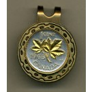 "Canadian Penny ""Maple Leaf"" Two Tone Coin Golf Ball Marker"