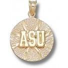 """Appalachian State Mountaineers Flat """"ASU Basketball"""" Pendant - 14KT Gold Jewelry"""