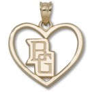"Bowling Green State Falcons 5/8"" ""BG"" Pierced Heart Pendant - Gold Plated Jewelry"