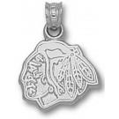 "Chicago Blackhawks ""Blackhawks Head Logo"" 3/8"" Pendant - Sterling Silver Jewelry"