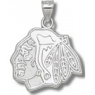 "Chicago Blackhawks 1"" ""Head Logo"" Pendant - Sterling Silver Jewelry"