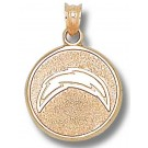 """San Diego Chargers 5/8"""" Round """"Bolt"""" Pendant - Gold Plated Jewelry"""
