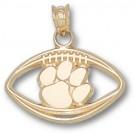"Clemson Tigers ""Paw Pierced Football"" Pendant - 10KT Gold Jewelry"