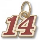 "Tony Stewart #14 5/16"" Red Enameled Charm - 14KT Gold Jewelry"