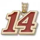 "Tony Stewart #14 Medium 1/2"" Red Enameled Pendant - 14KT Gold Jewelry"